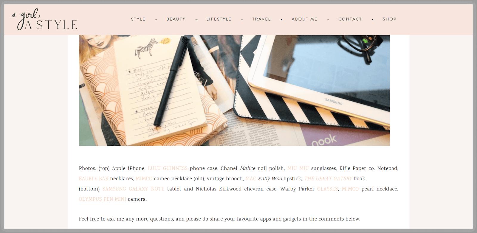 Contoh blog yang menampilkan sponsored posts.