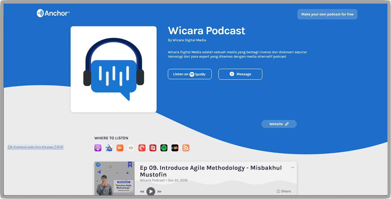Contoh channel podcast yang menjadi sarana mendapatkan penghasilan online.