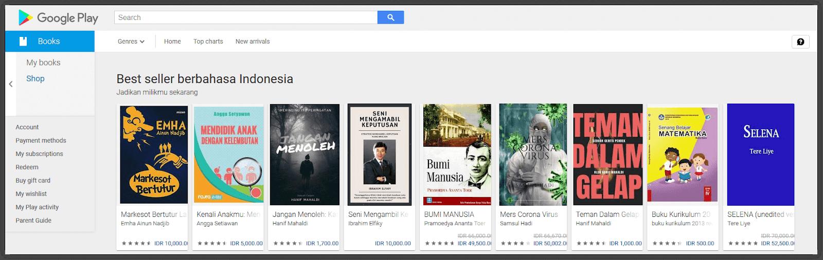 google playstore juga menjual berbagai buku digital
