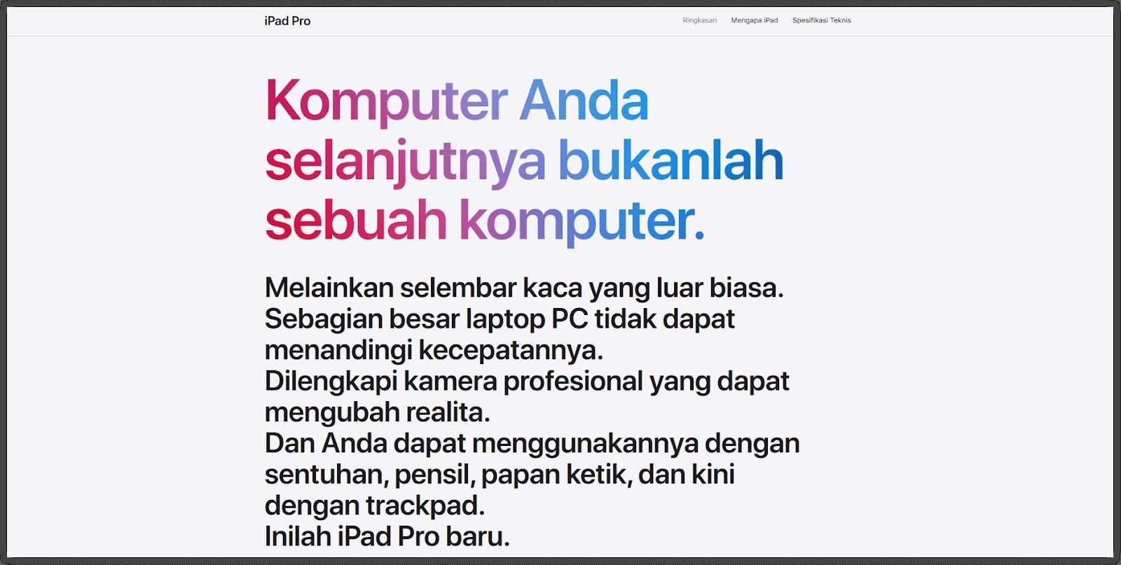contoh penggunaan copywriting d website Apple Indonesia