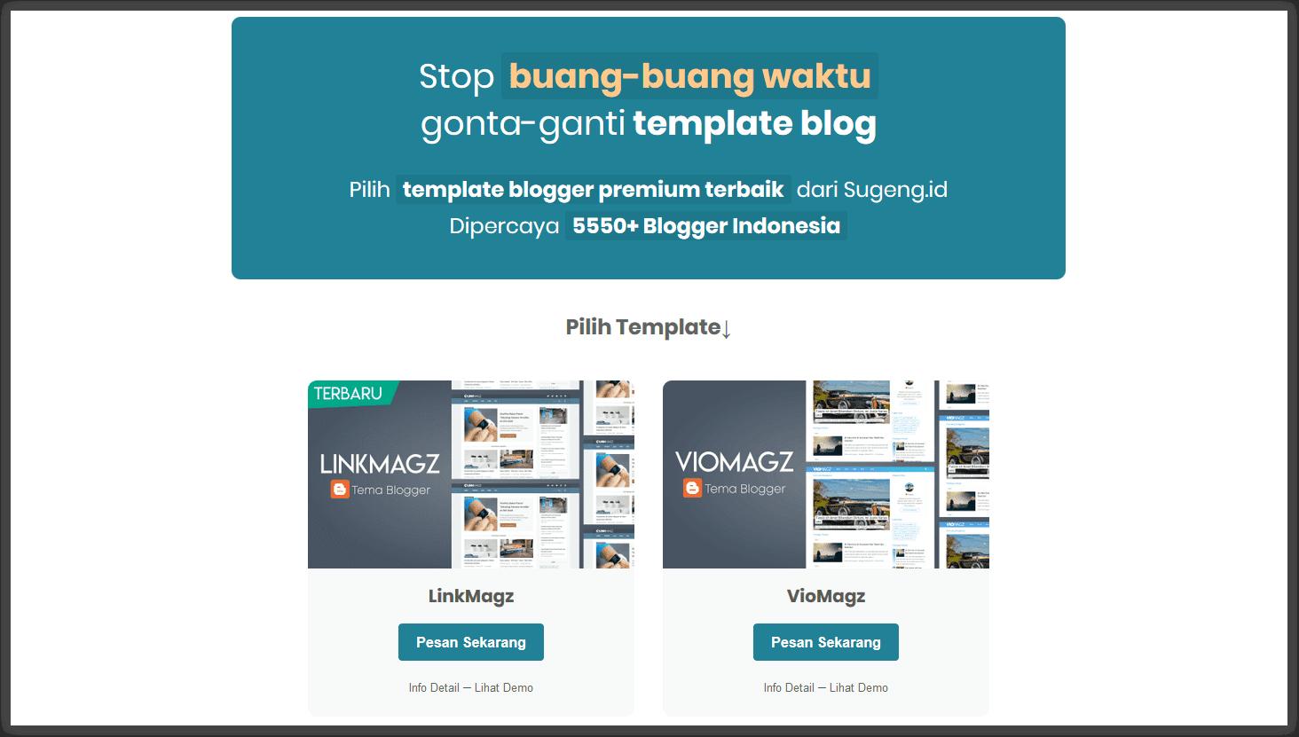 contoh penjualan template menggunakan media blog pribadi