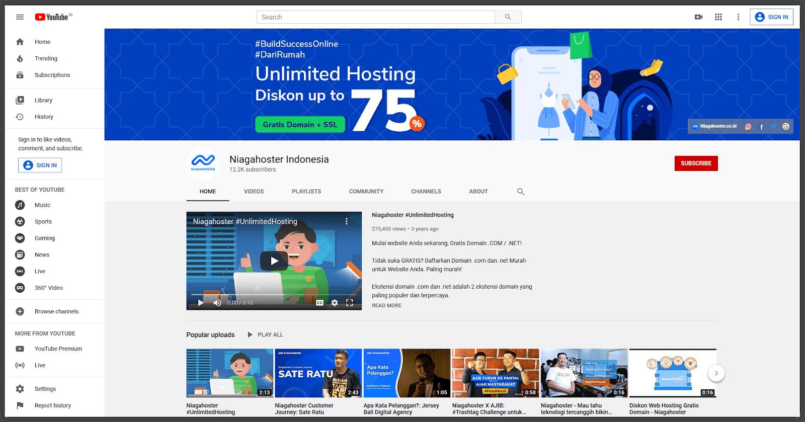 Contoh channel YouTube dengan konten menarik