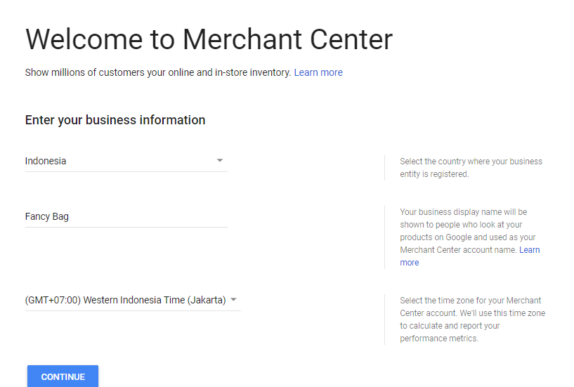 Sign Up Google Merchatn Center
