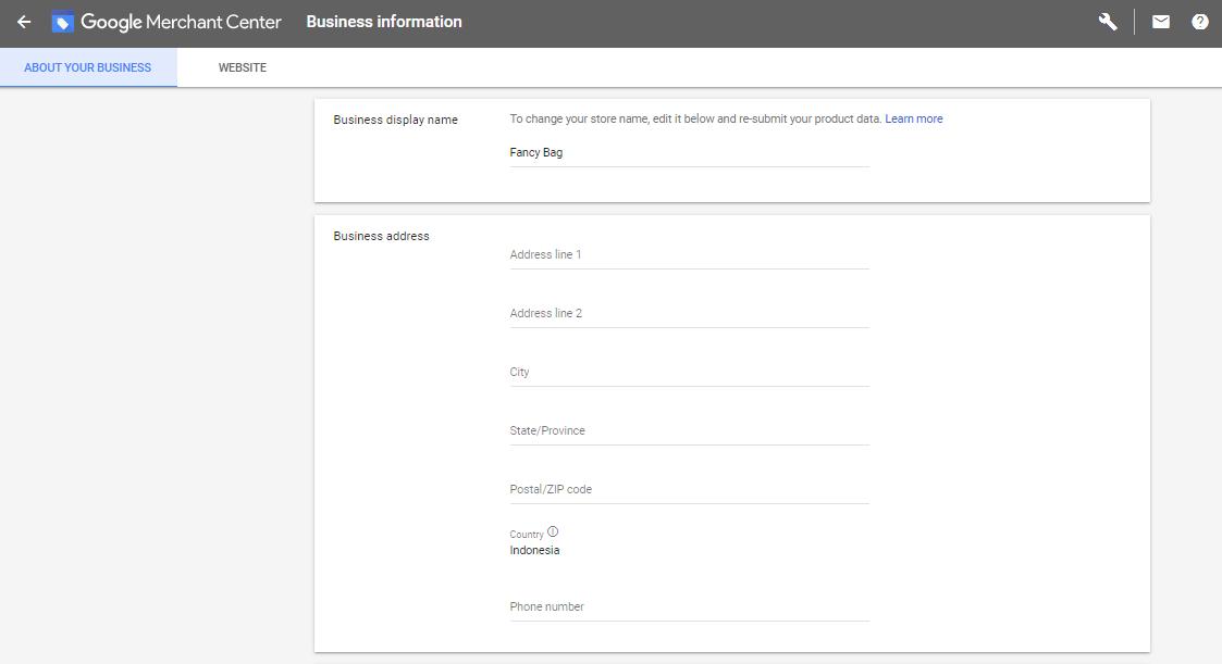 Halaman Business Information Google Merchant Center