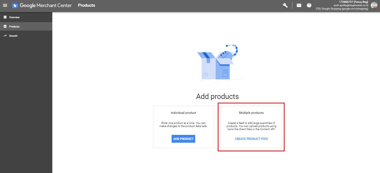 Create Feed Google Merchant Center