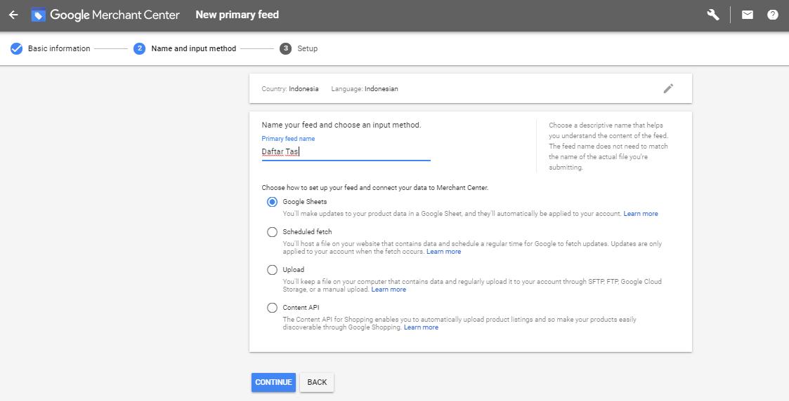 Input Method Google Merchant Center