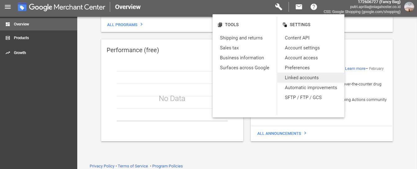 Menghubungkan Akun Google Merchant Center dengan Google Ads