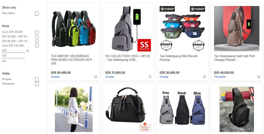 Tampilan Google Shopping