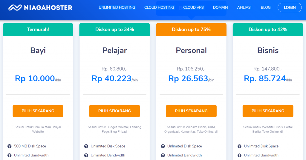 contoh upselling niagahoster