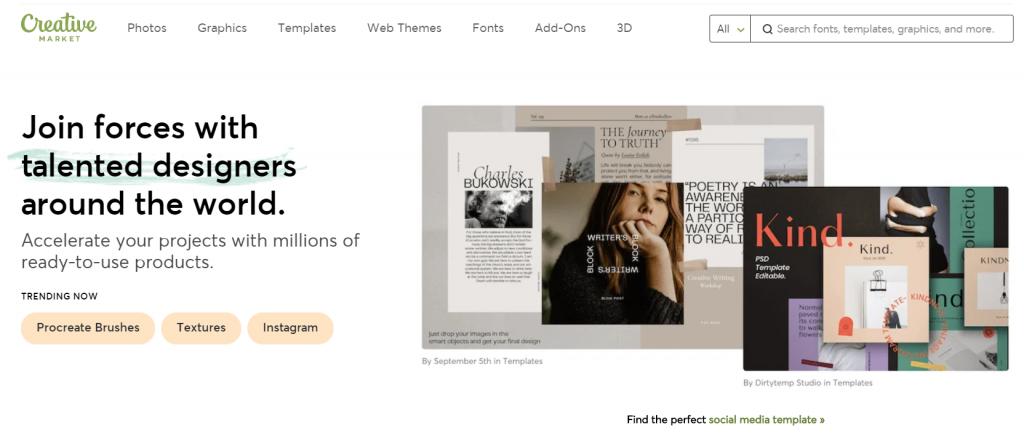 halaman utama creative market