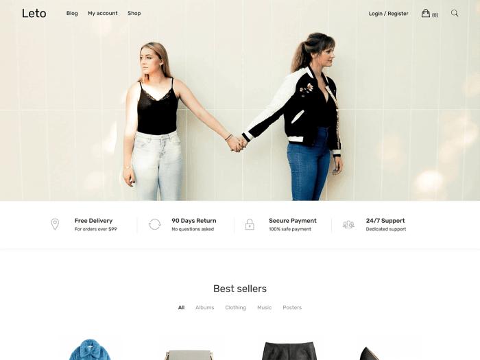 Template toko online WordPress Leto