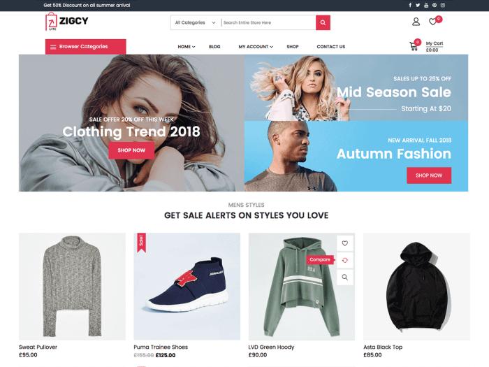 Template toko online WordPress Zigcy Lite