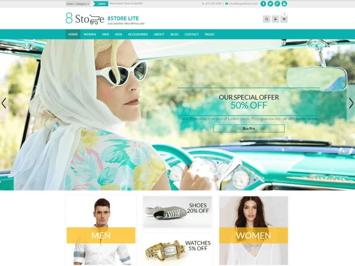 Template toko online WordPress gratis EightStore Lite