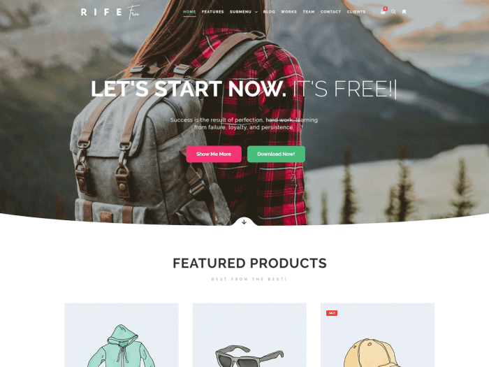 Template toko online sederhana Rife