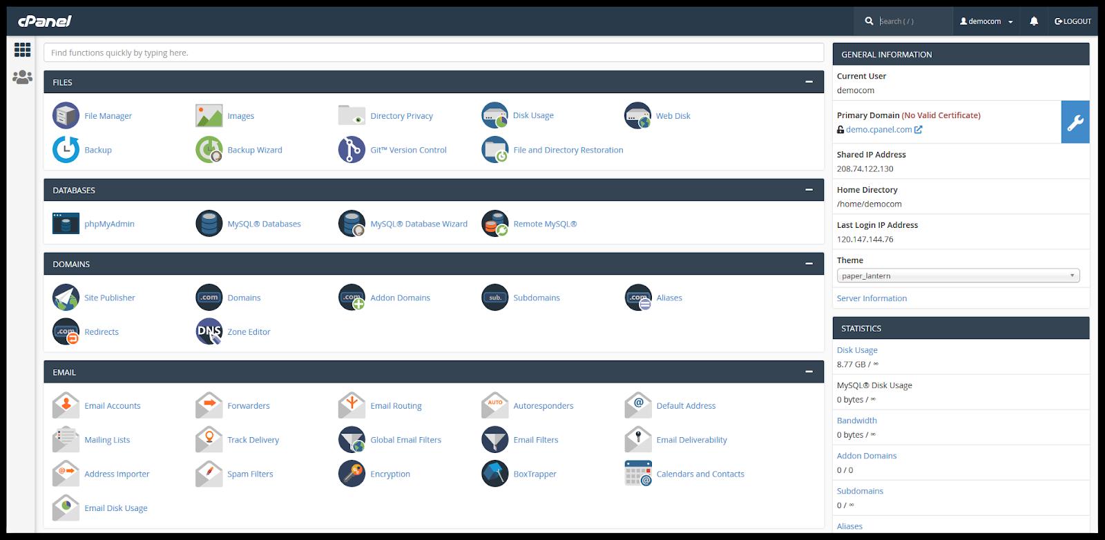 Tampilan cPanel yang digunakan dalam mengelola website untuk bisnis reseller hosting