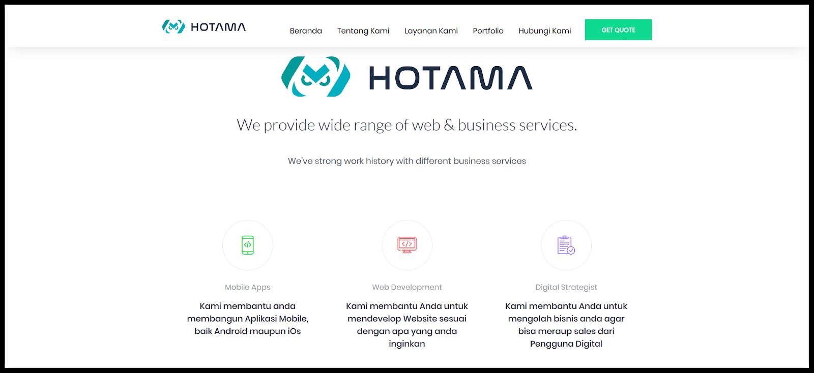 Halaman depan website Hotama, pelaku bisnis reseller hosting