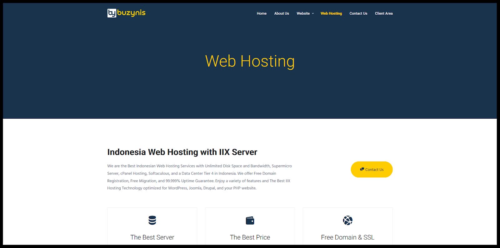 Website pelaku bisnis reseller hosting yang sukses Buzynis.
