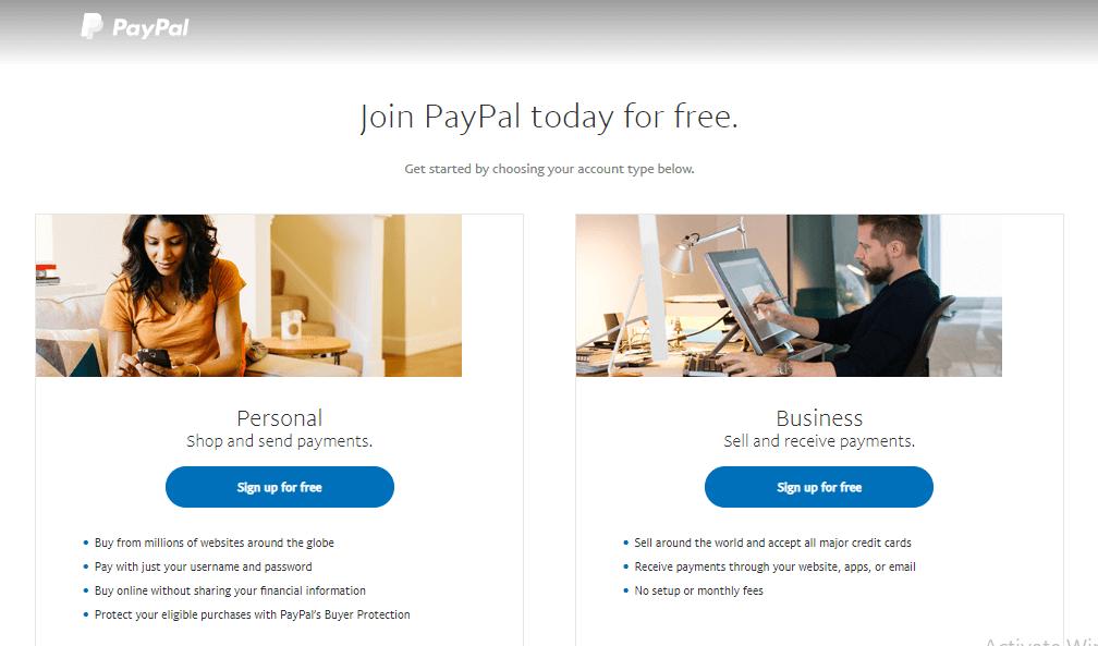 Pilihan jenis aku Paypal saat setting PayPal WooCommerce