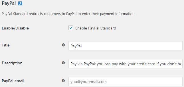 Menu PayPal Configuration