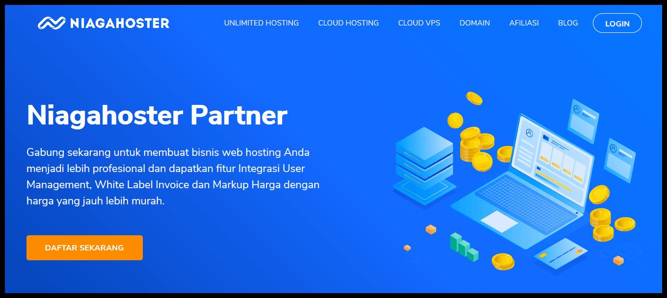 Halaman depan Niagahoster Partner sebagai platform bisnis reseller hosting