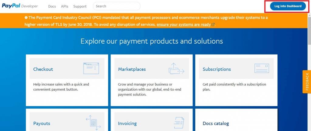 Mengunjungi Developer Section sebagai langkah awal Setting PayPal WooCommerce