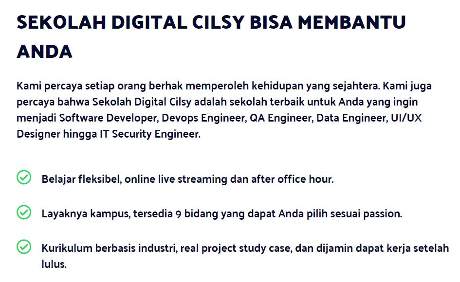 promosi sekolah digital cilsy di website