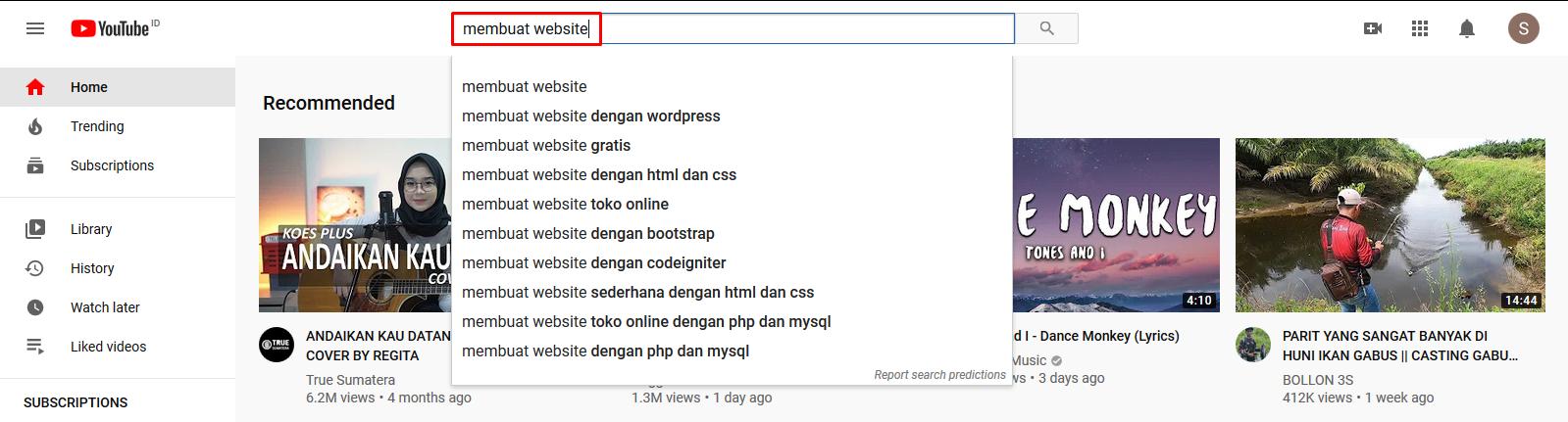 Cara Dapat Uang dari YouTube dengan Riset Keyword melalui Menu Pencarian.