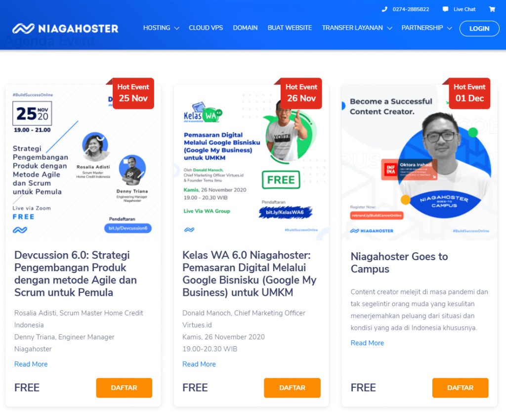 contoh landing page community marketing online di Niagahoster