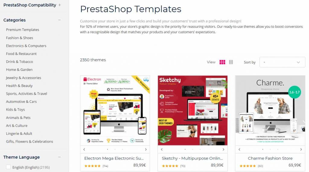 prestashop vs woocommerce: template prestashop