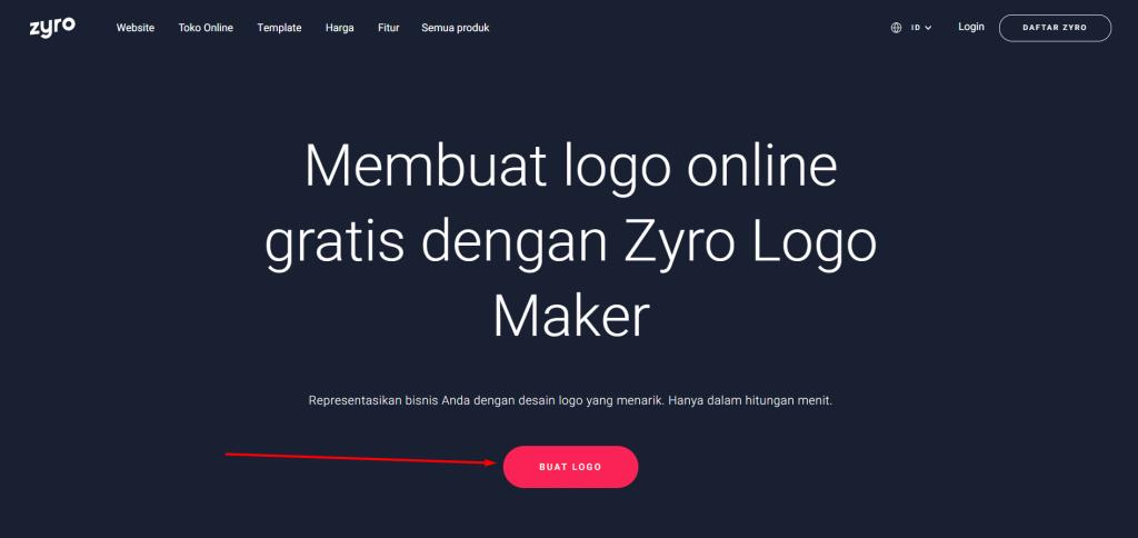 Tombol untuk mulai membuat logo di Zyro
