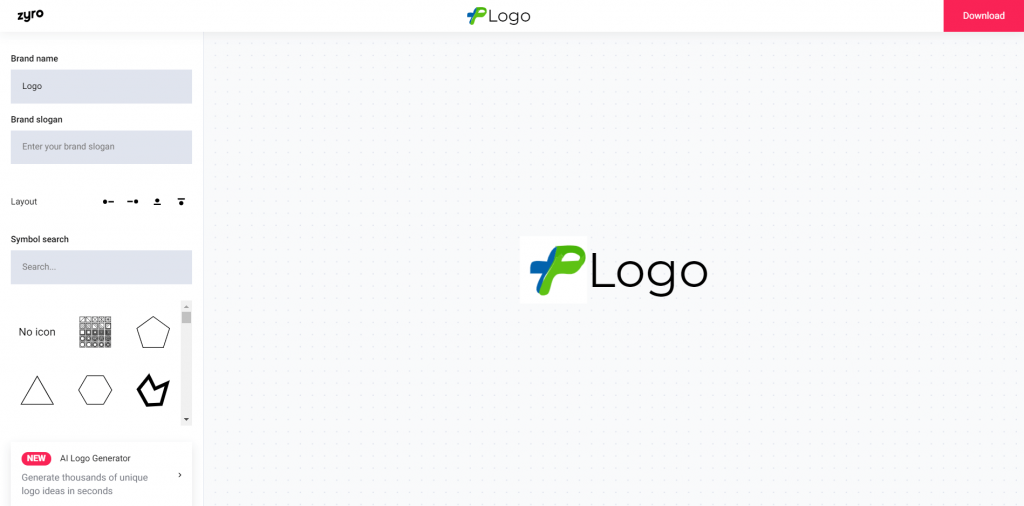 Interface logo editor Zyro