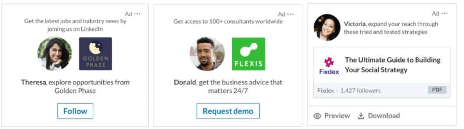 tiga contoh dynamic ads di LinkedIn