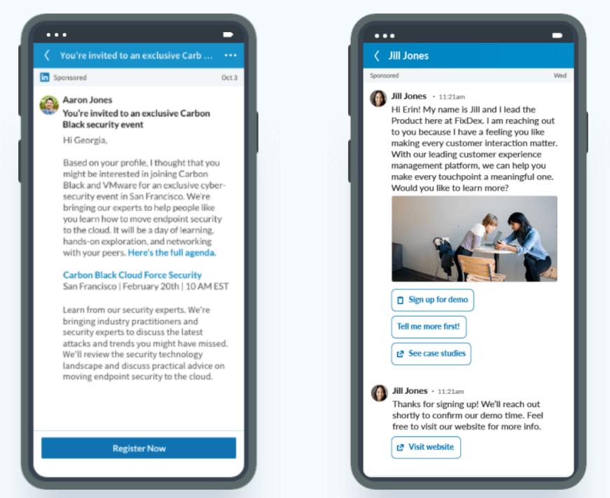 message ads dan conversation ads untuk LinkedIn Ads