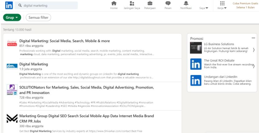 pemanfaatan grup LinkedIn untuk awareness bisnis