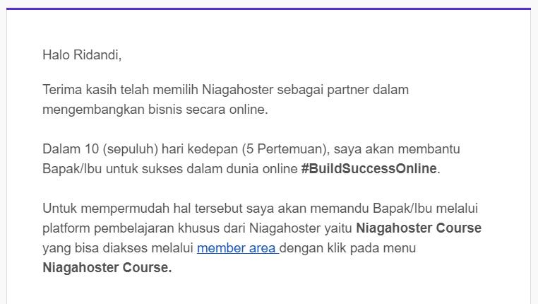 mempertahankan pelanggan dengan email build success online niagahoster