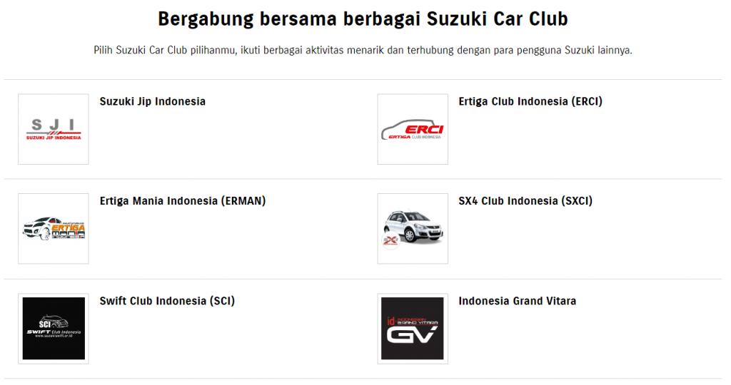 mempertahankan pelanggan dengan suzuki car club