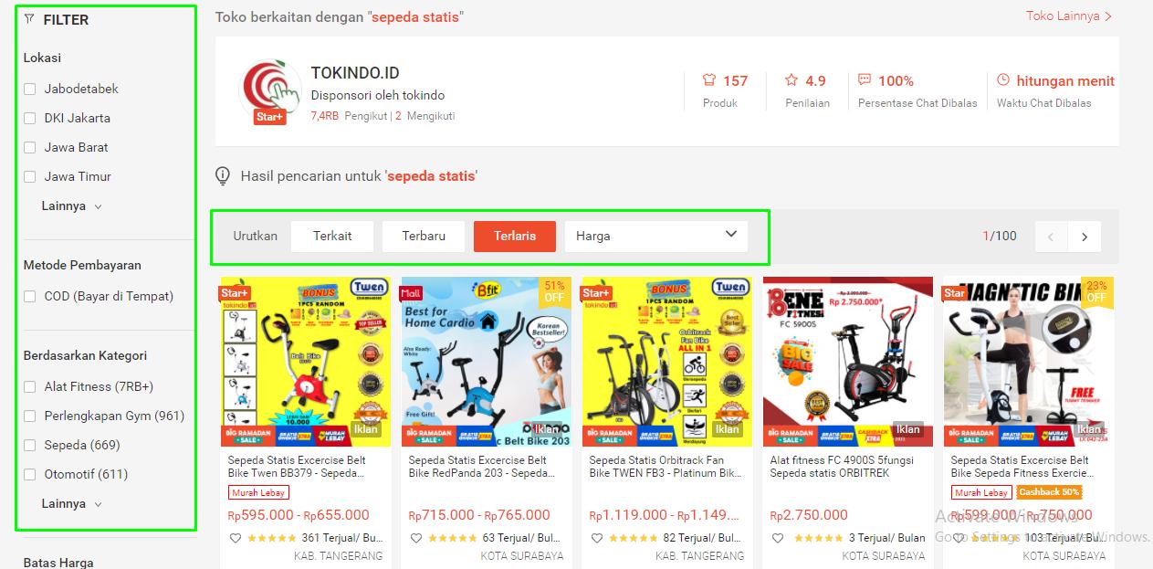 Contoh pencarian produk terlaris di marketplace