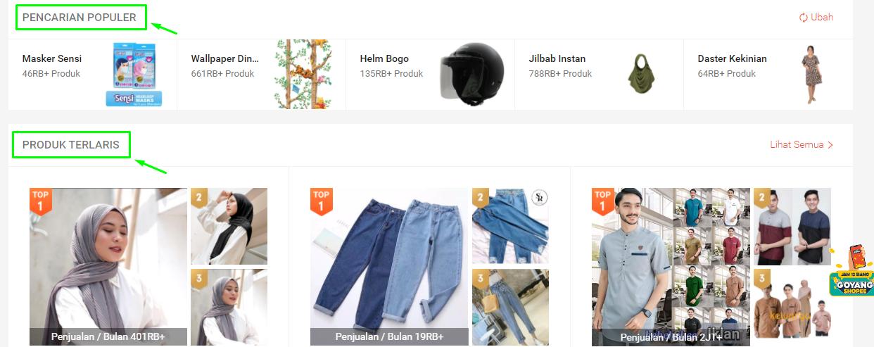 Contoh riset produk menggunakan pencarian populer di marketplace