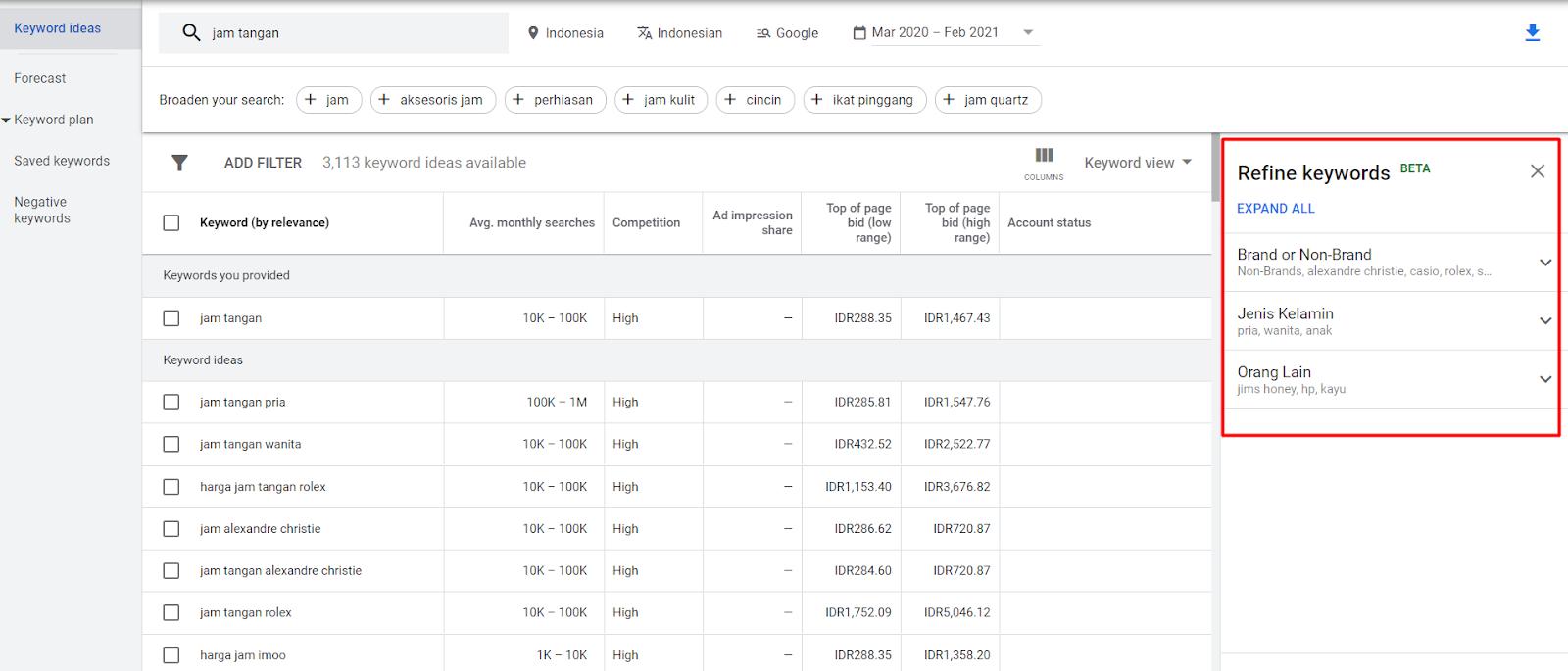 Fitur Google Keyword Planner bernama Refine Keyword