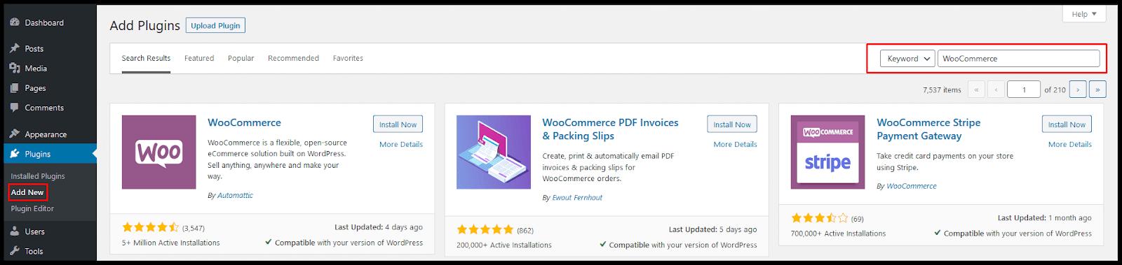 Menambahkan plugin WooCommerce di WordPress.