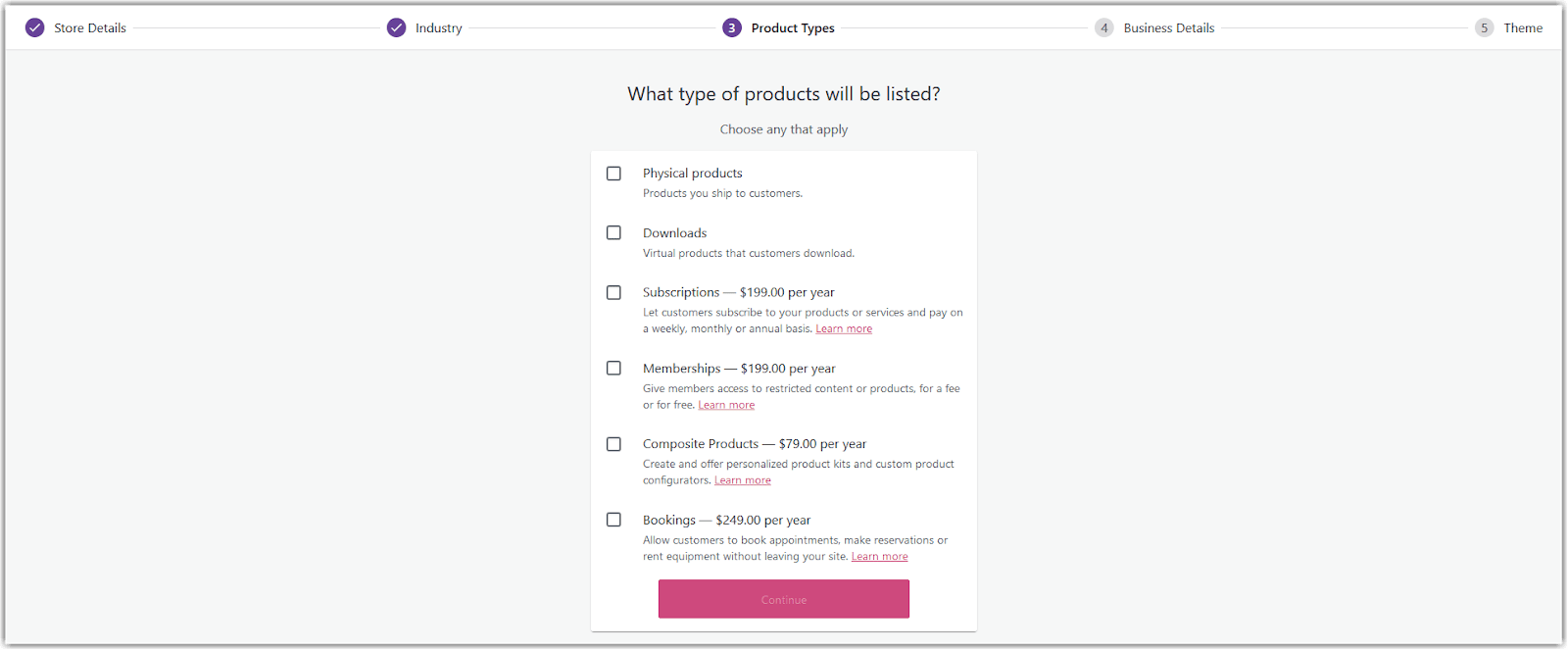 Pengaturan tipe produk dalam cara setting WooCommerce.