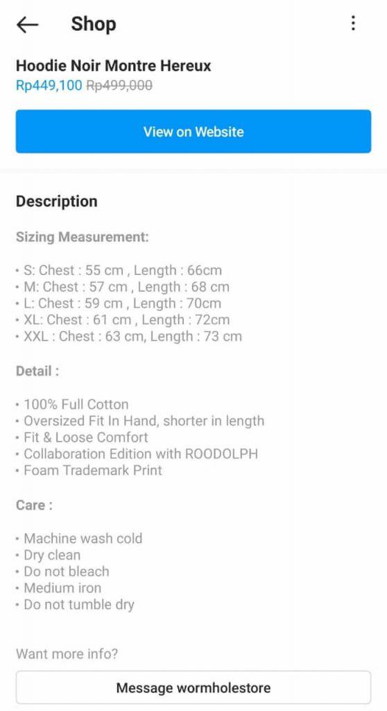 detail produk di instagram shop