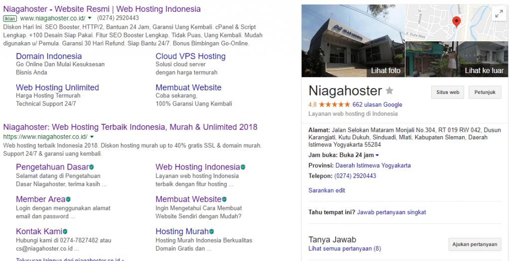 Contoh bisnis yang tampil di Google Bisnisku