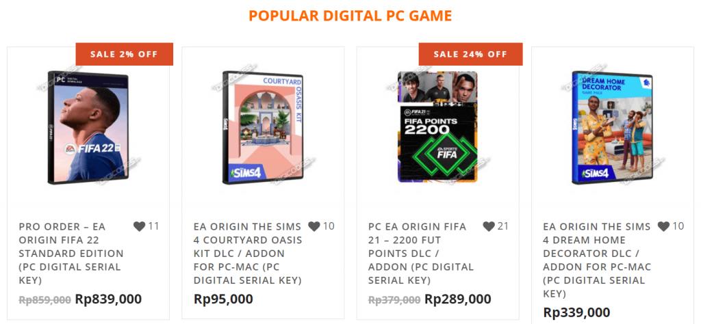 contoh produk digital game