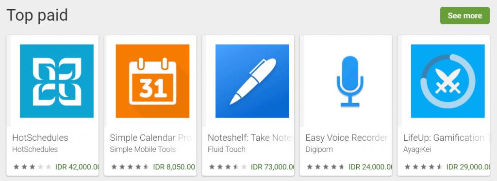 contoh aplikasi berbayar di google play